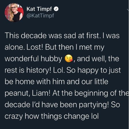 A post by Kat Timpf in which she mentions her husband.
