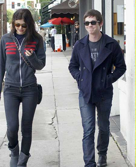 Alexandra Daddario and her ex-boyfriend Logan Lerman heading to lunch in West Hollywood