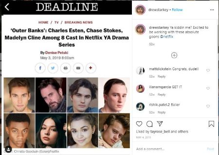 Drew Instagram Post Showing all the cast members of Outer Banks