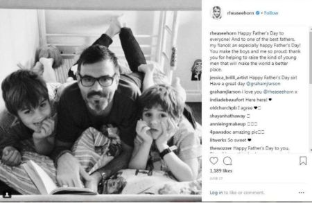 Rhea Seehorn's fiance Graham with his children from ex-wife