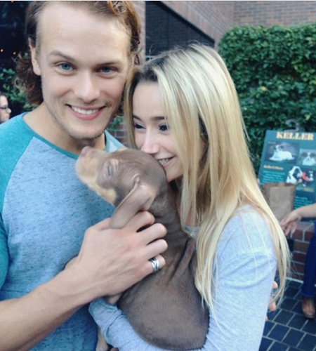Sam Heughan and his former girlfriend Amy Shiels with their dog