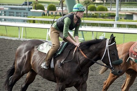 Kerry Condon riding horse for her Jockey role in Luck