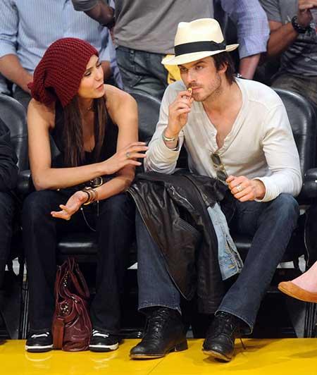 Nina Dobrev and Ian Somerhalder enjoyed an NBA match