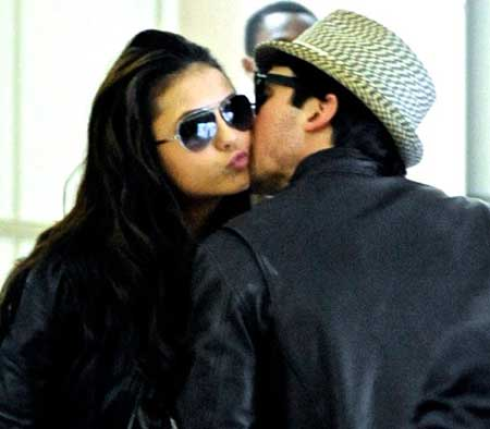 Nina Dobrev and Ian Somerhalder pictured kissing at the LAX airport in March 2010