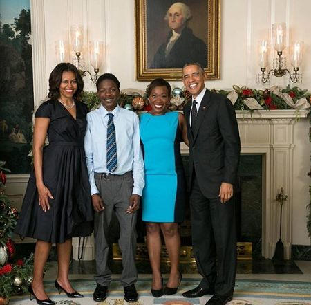 Joy Reid and her children with former President Barack Obama