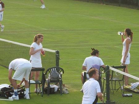 Hugh Grant's wife Anna Eberstein playing tennis.