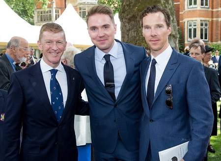 Tim Hawking with Tim Peake and Benedict Cumberbatch at the Service of Thanksgiving at Westminster Abbey.