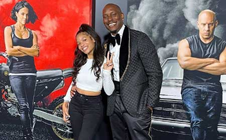 ShaylaSomer Gibson and her father at the premiere of F9