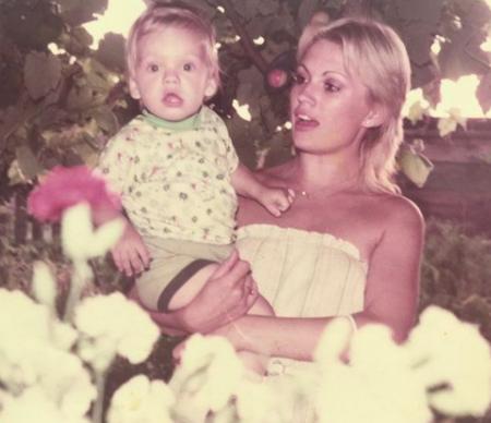 Georgeta Orlovschi with her son, Sebastian Stan