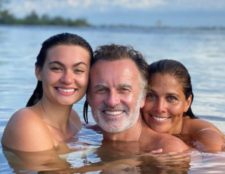 Kelly Paniagua with her husband, Julian McMahon and her step daughter, Madison