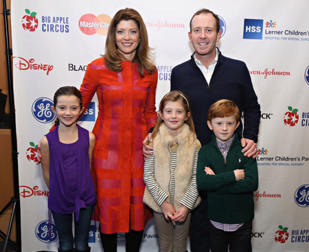 Geoff Tracy with wife, Norah O'Donnell and their children
