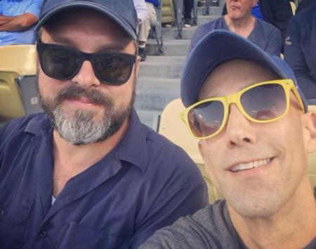 Stephanie Courtney's husband, Scott Kolanach with Mitch Sipa at the Dodgers Stadiuam