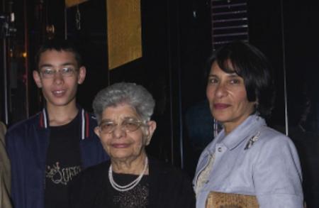 from left- Freddie Mercury's nephew, mother, and sister, Kshmira Bulsara in 2002