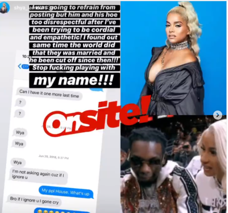 Shya Lamour sharing the messages she had with Offset.