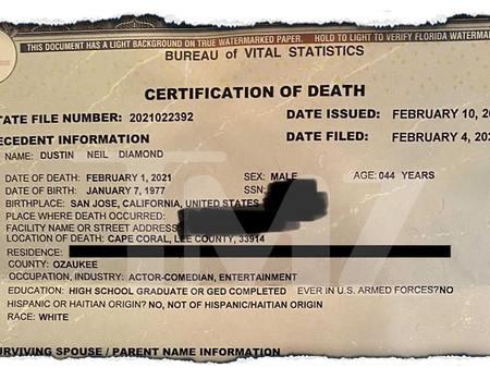 Dustin Diamond's Death Certificate